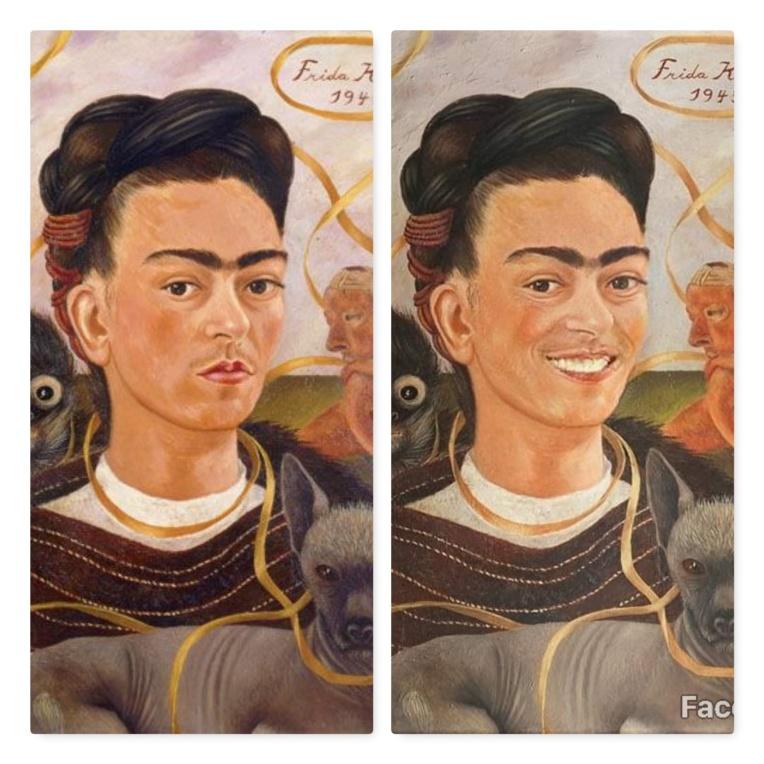 FaceApp-sourire-F-Autorretrato con changuito-Frida Kahlo