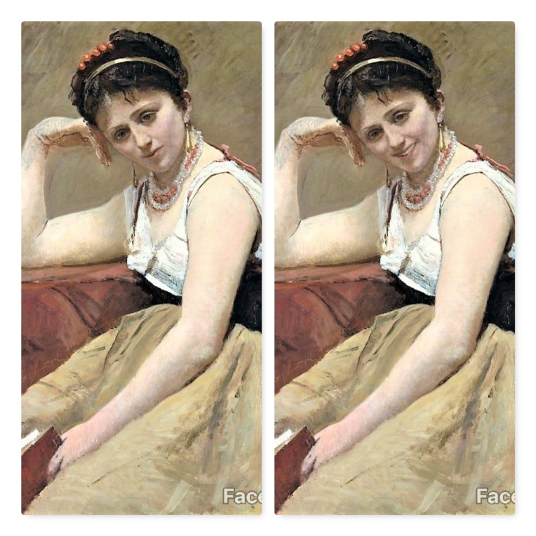 FaceApp-sourire-F-La lecture interrompue-Camille Corot