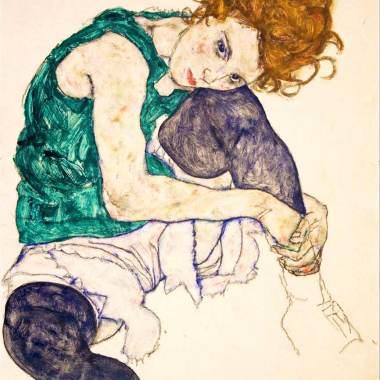 1.Egon Schiele-Femme assise avec la jambe repliée -1917