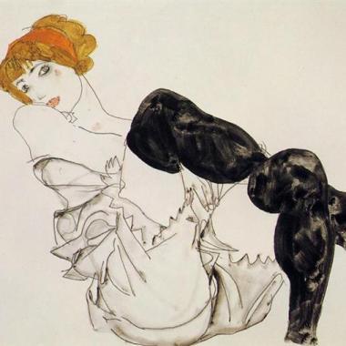 2.Egon Schiele-Wally Neuzil en bas noirs -1912