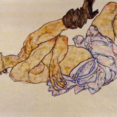 3.Egon Schiele-Nu féminin allongé-1917