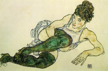 4.Egon Schiele-Femme allongée avec des bas verts-1917